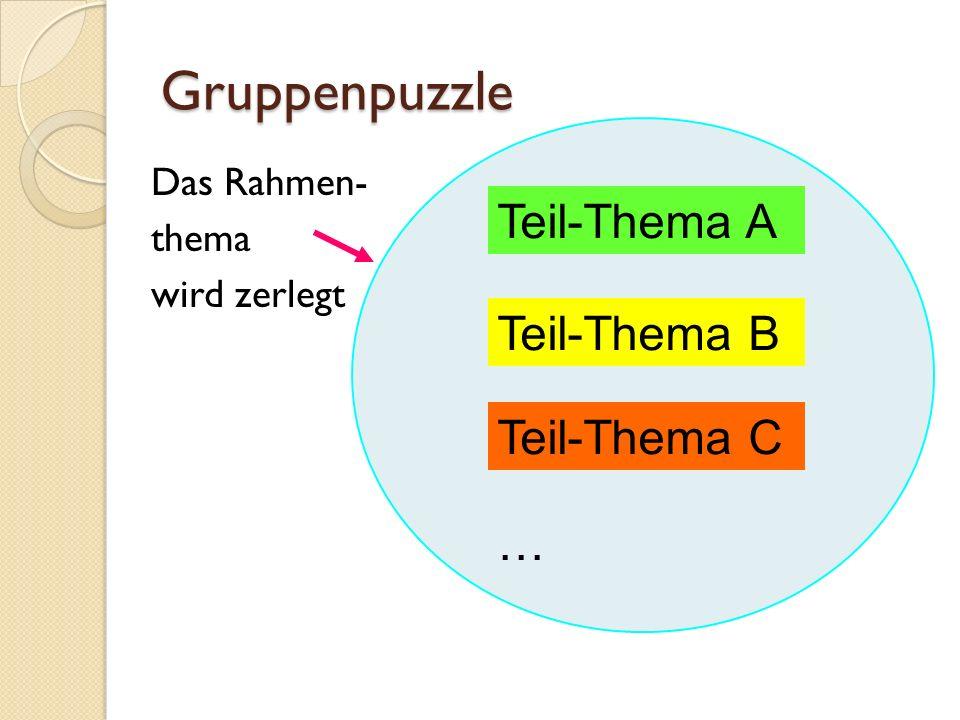 Gruppenpuzzle Teil-Thema A Teil-Thema B Teil-Thema C …