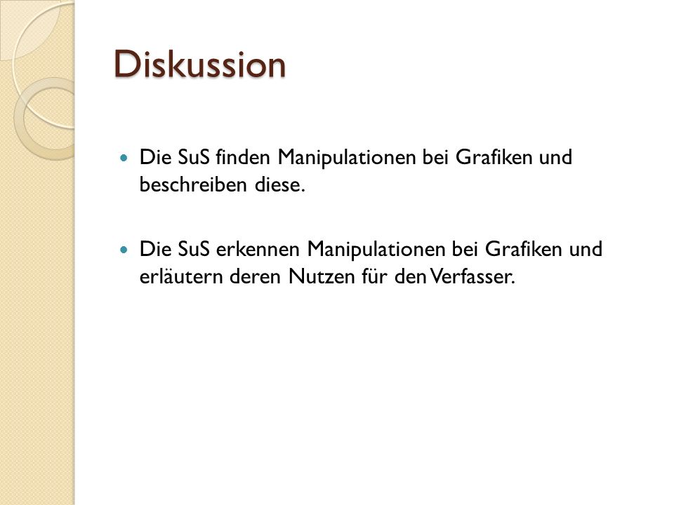 Diskussion Die SuS finden Manipulationen bei Grafiken und beschreiben diese.