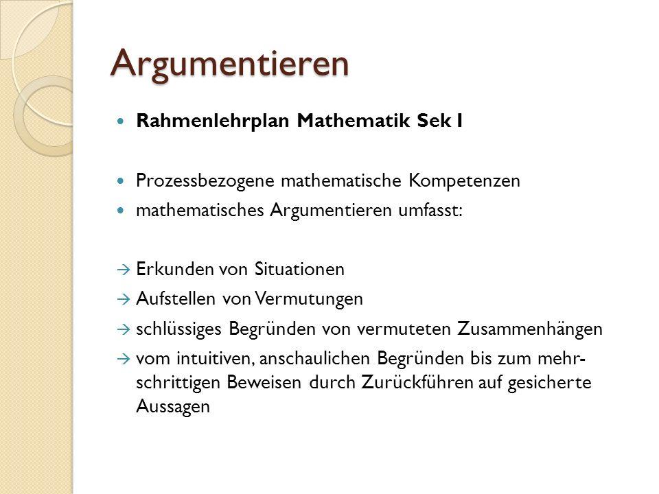 Argumentieren Rahmenlehrplan Mathematik Sek I
