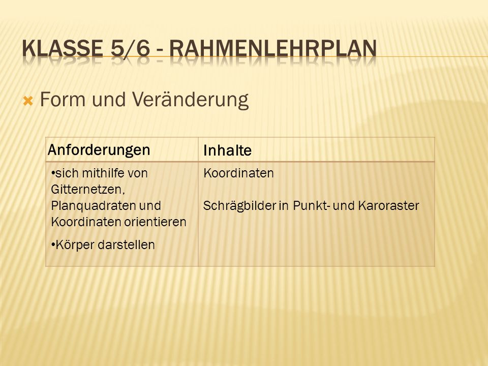 Klasse 5/6 - Rahmenlehrplan