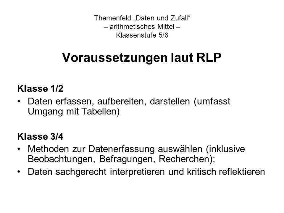 Voraussetzungen laut RLP