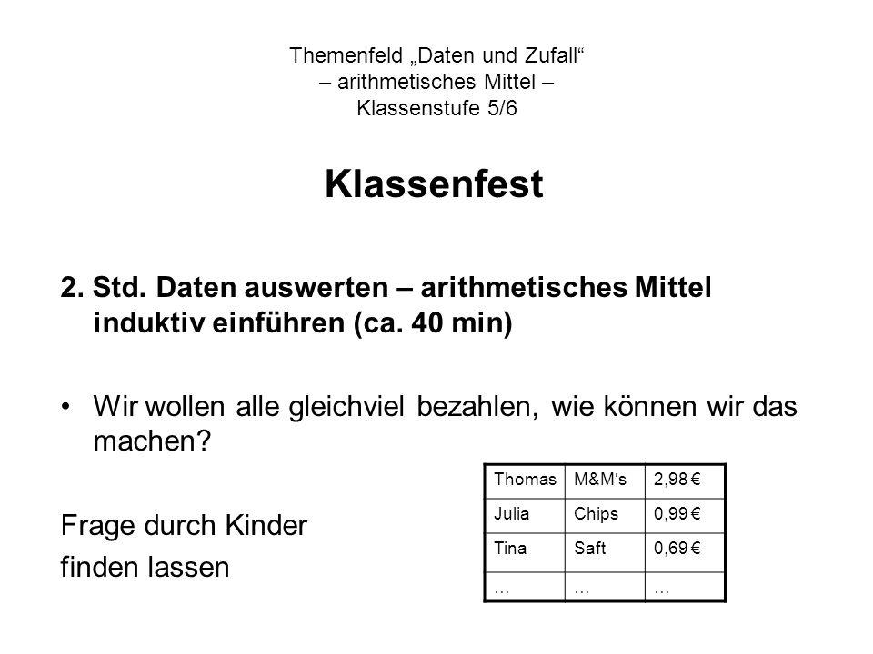 """Themenfeld """"Daten und Zufall – arithmetisches Mittel – Klassenstufe 5/6"""