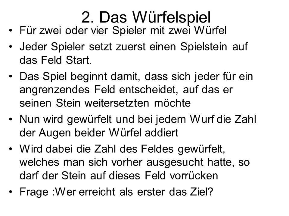 2. Das Würfelspiel Für zwei oder vier Spieler mit zwei Würfel