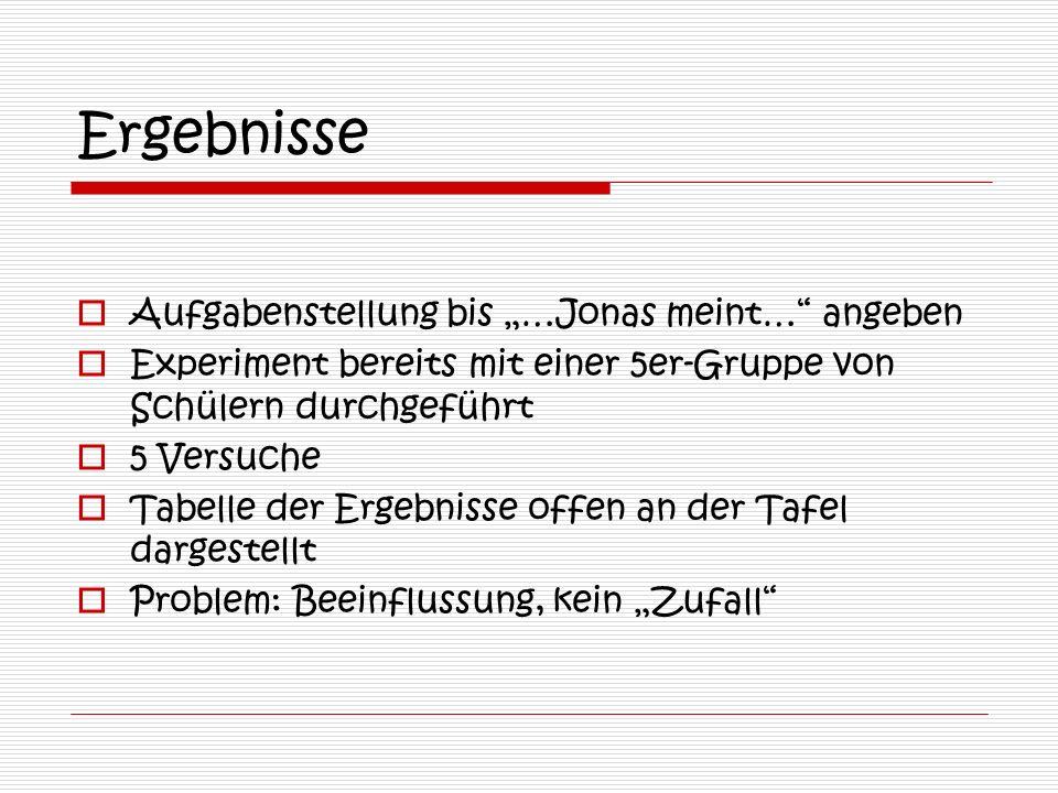 """Ergebnisse Aufgabenstellung bis """"…Jonas meint… angeben"""