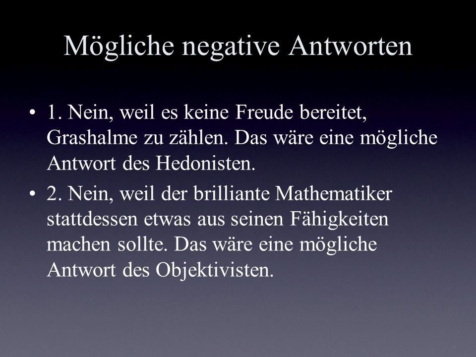 Mögliche negative Antworten