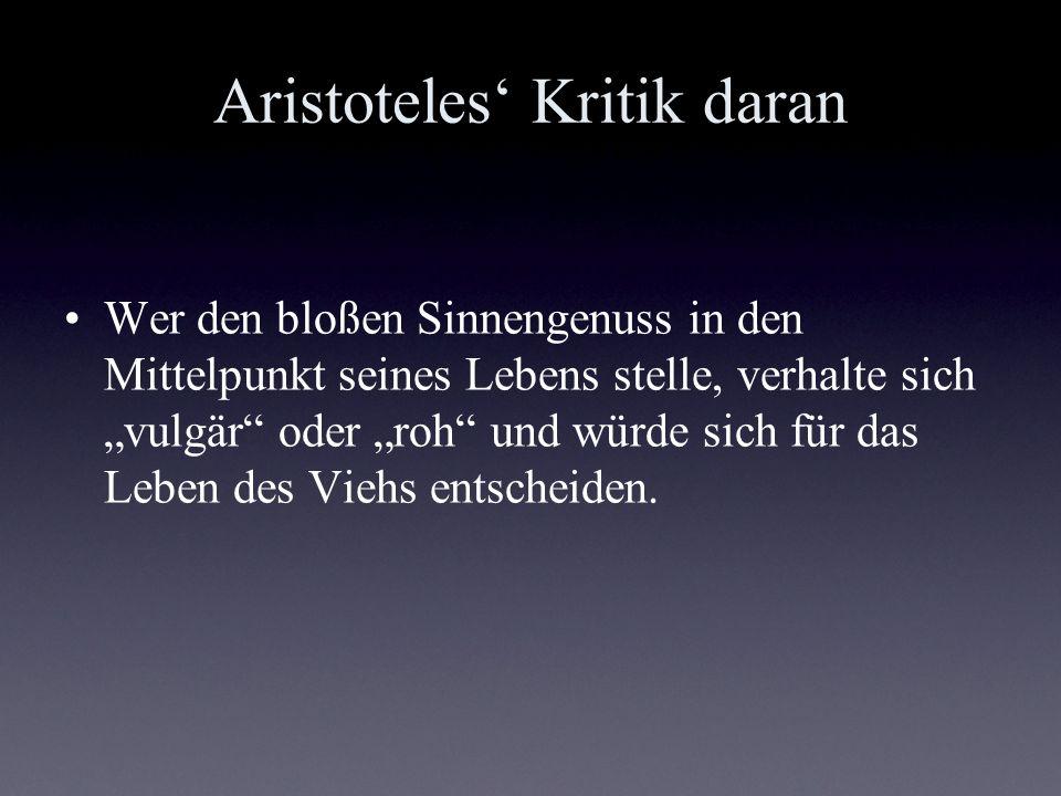 Aristoteles' Kritik daran
