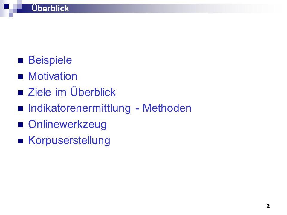 Indikatorenermittlung - Methoden Onlinewerkzeug Korpuserstellung