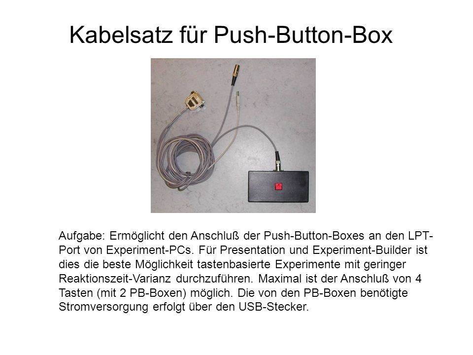 Kabelsatz für Push-Button-Box