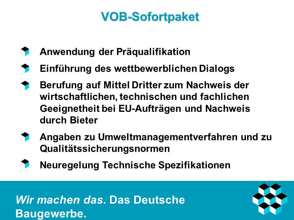VOB-Sofortpaket Anwendung der Präqualifikation