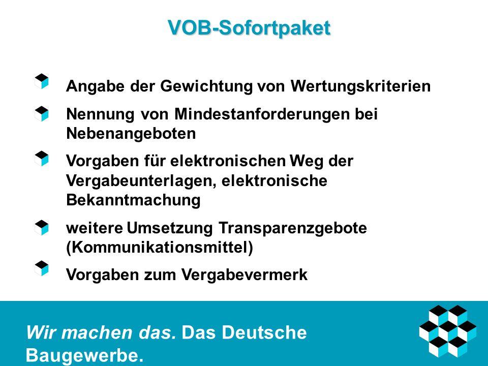 VOB-Sofortpaket Angabe der Gewichtung von Wertungskriterien