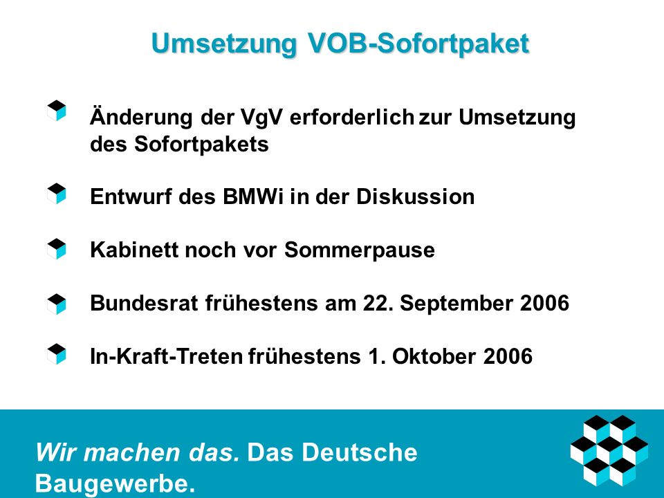Umsetzung VOB-Sofortpaket