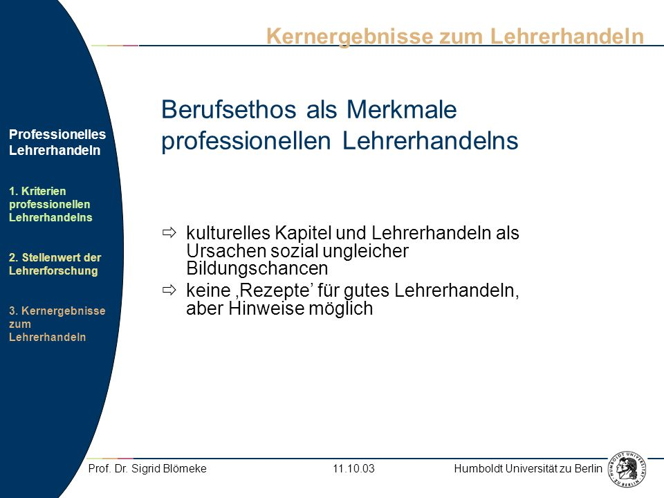 Berufsethos als Merkmale professionellen Lehrerhandelns