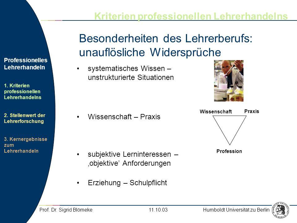 Besonderheiten des Lehrerberufs: unauflösliche Widersprüche