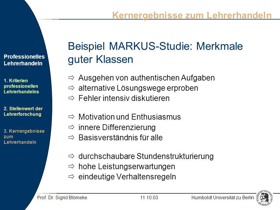 Beispiel MARKUS-Studie: Merkmale guter Klassen