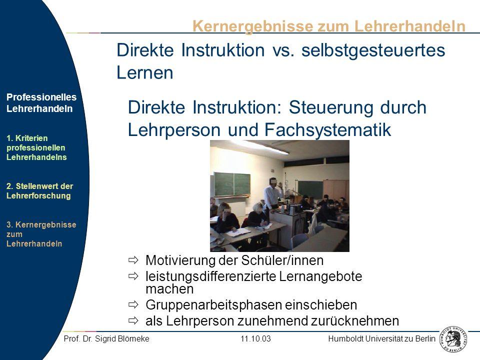 Direkte Instruktion: Steuerung durch Lehrperson und Fachsystematik