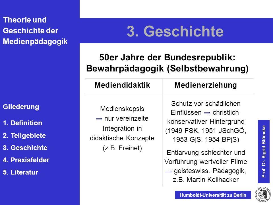 50er Jahre der Bundesrepublik: Bewahrpädagogik (Selbstbewahrung)