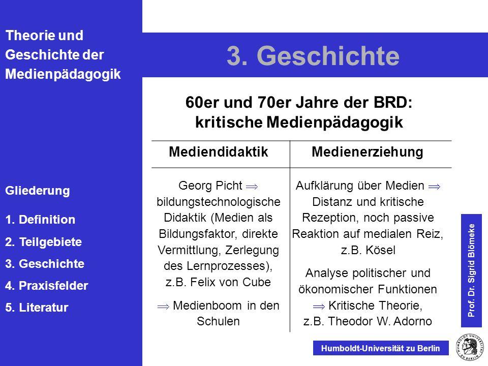 60er und 70er Jahre der BRD: kritische Medienpädagogik