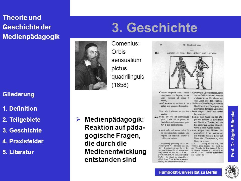 3. Geschichte Comenius: Orbis sensualium pictus quadrilinguis (1658) Prof. Dr. Sigrid Blömeke.