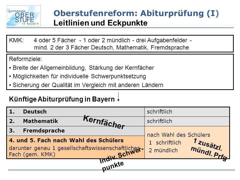 Oberstufenreform: Abiturprüfung (I) Leitlinien und Eckpunkte