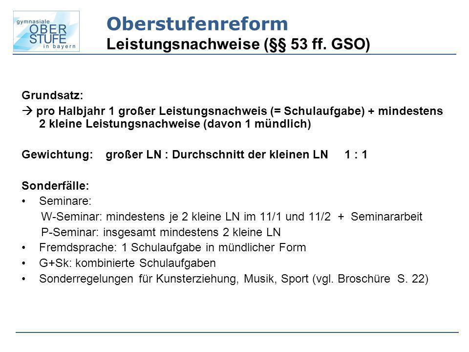 Oberstufenreform Leistungsnachweise (§§ 53 ff. GSO)