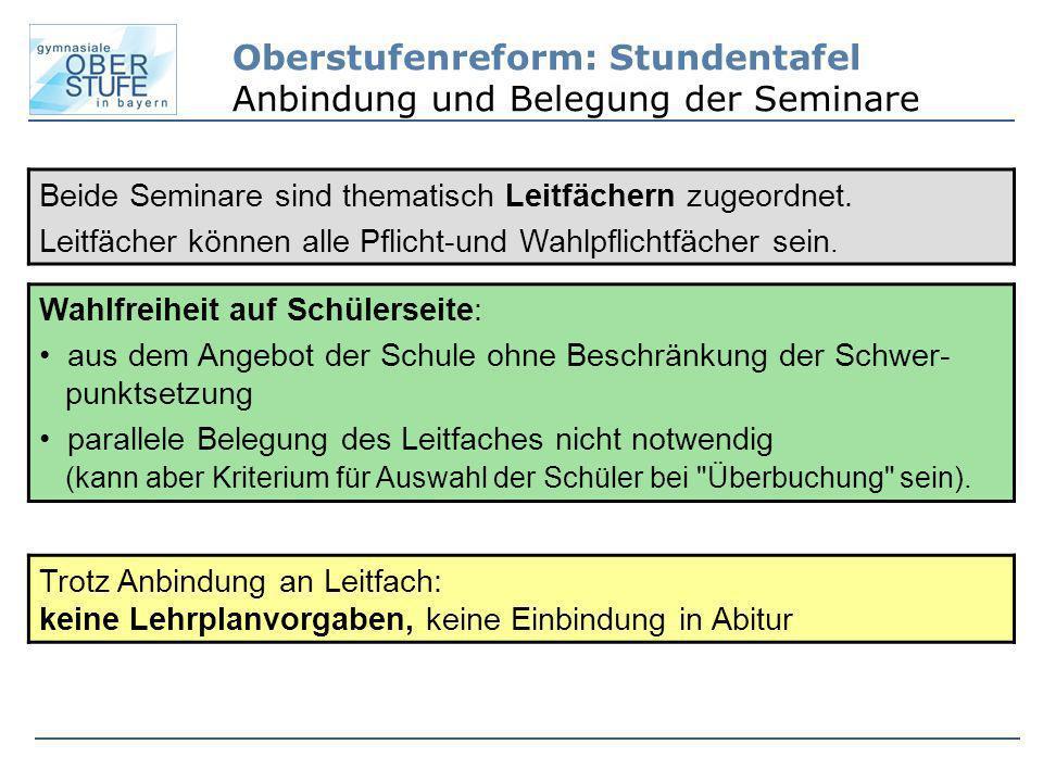 Oberstufenreform: Stundentafel Anbindung und Belegung der Seminare