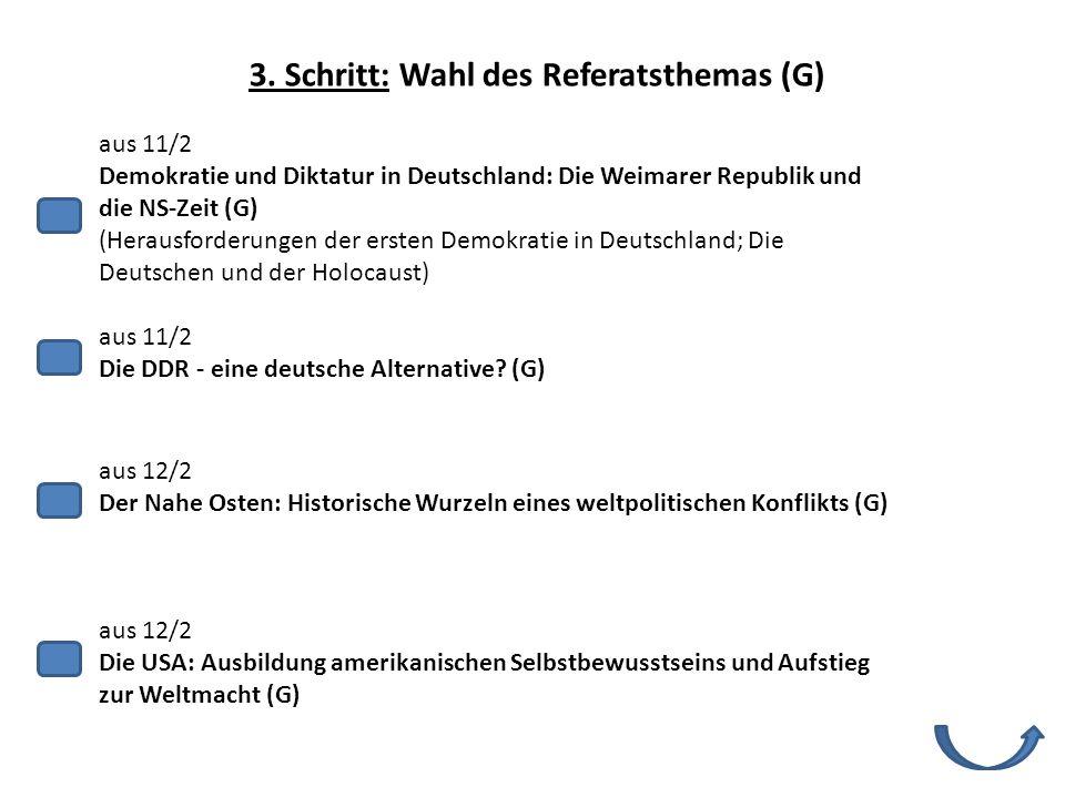 3. Schritt: Wahl des Referatsthemas (G)