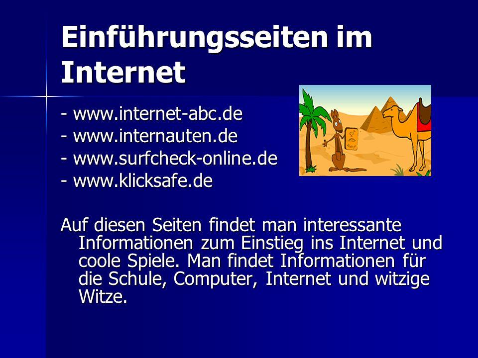 Einführungsseiten im Internet