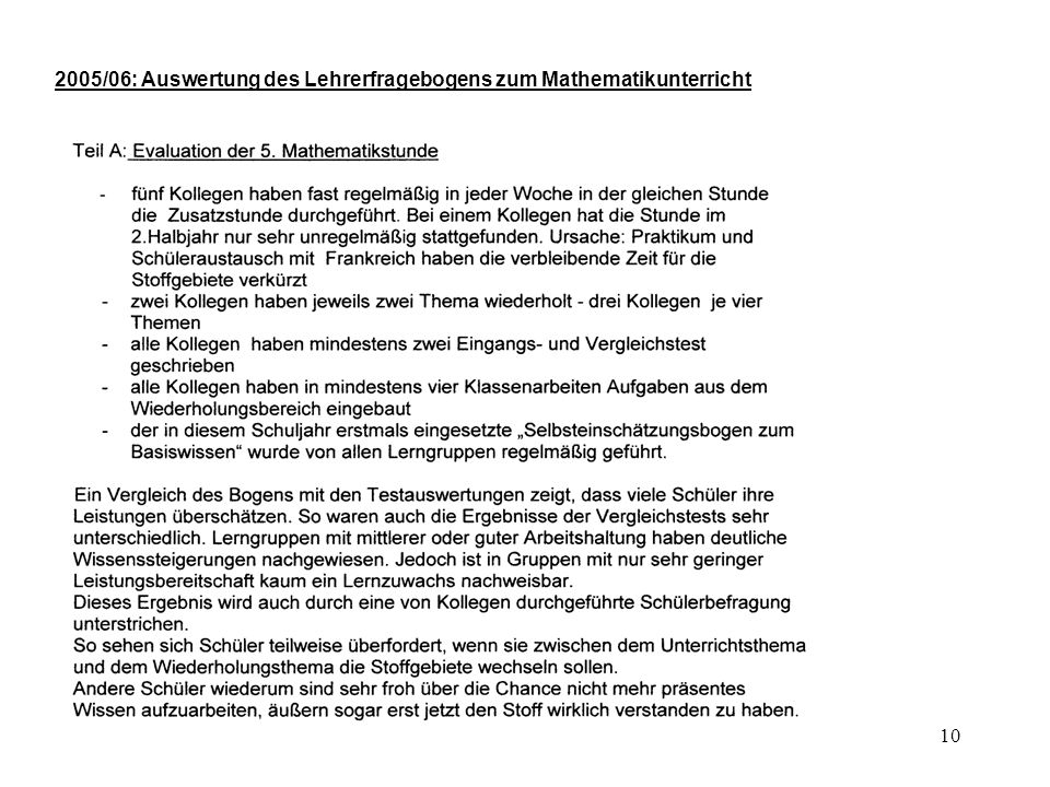 2005/06: Auswertung des Lehrerfragebogens zum Mathematikunterricht