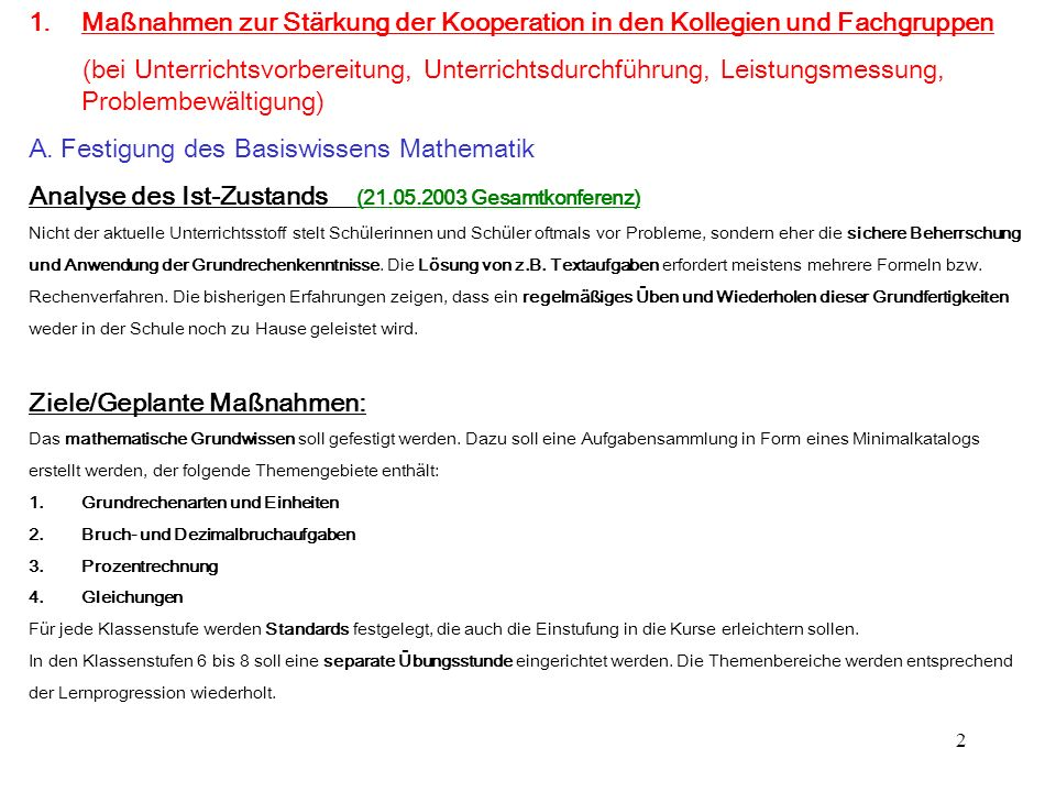 A. Festigung des Basiswissens Mathematik