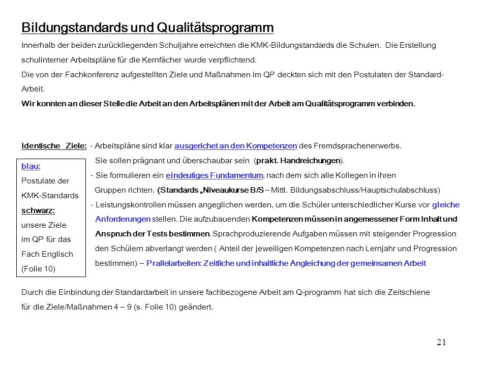 Bildungstandards und Qualitätsprogramm