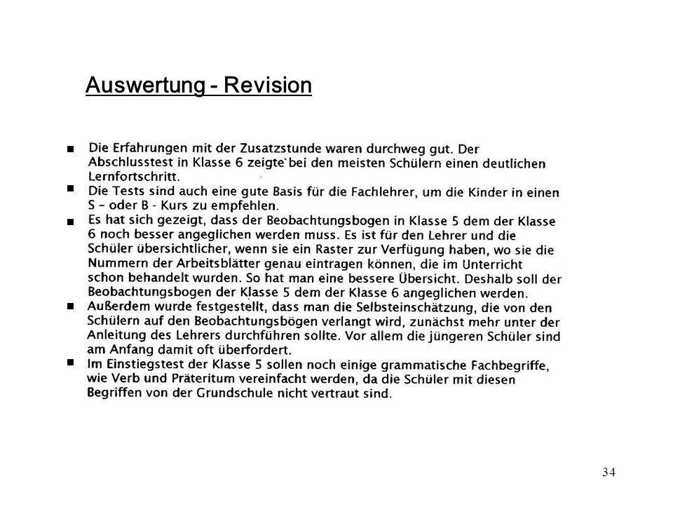 Auswertung - Revision