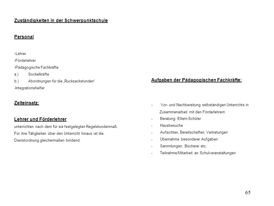 Zuständigkeiten in der Schwerpunktschule Personal