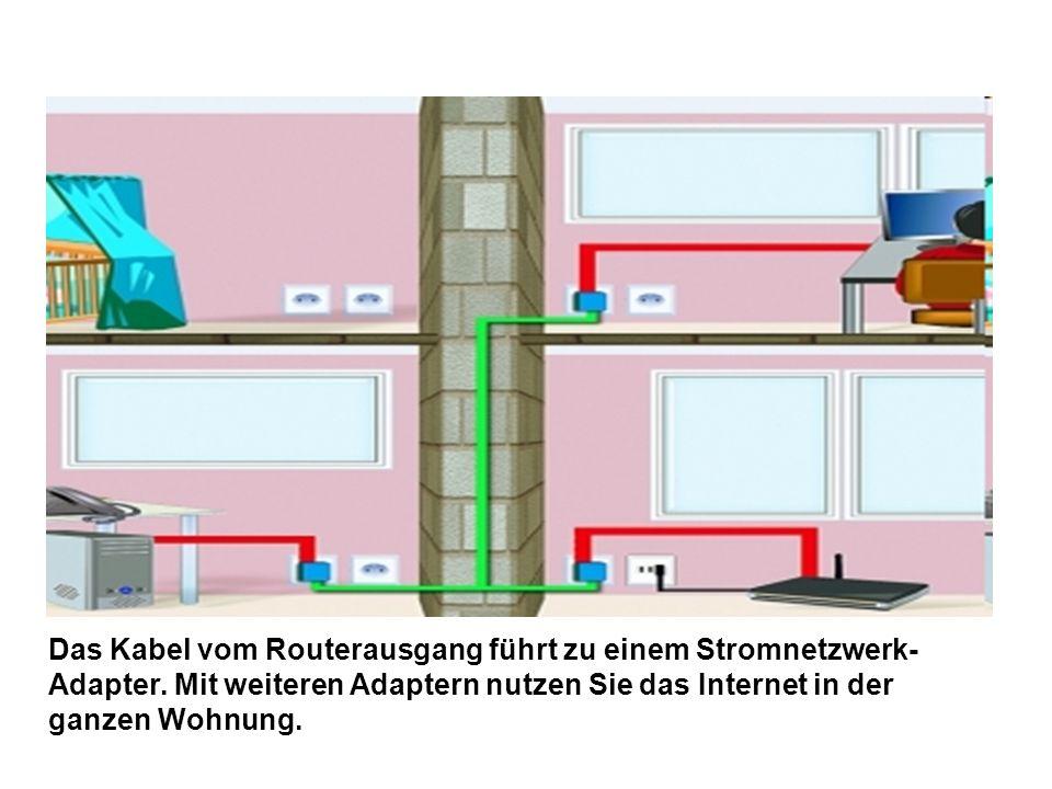 Das Kabel vom Routerausgang führt zu einem Stromnetzwerk-Adapter