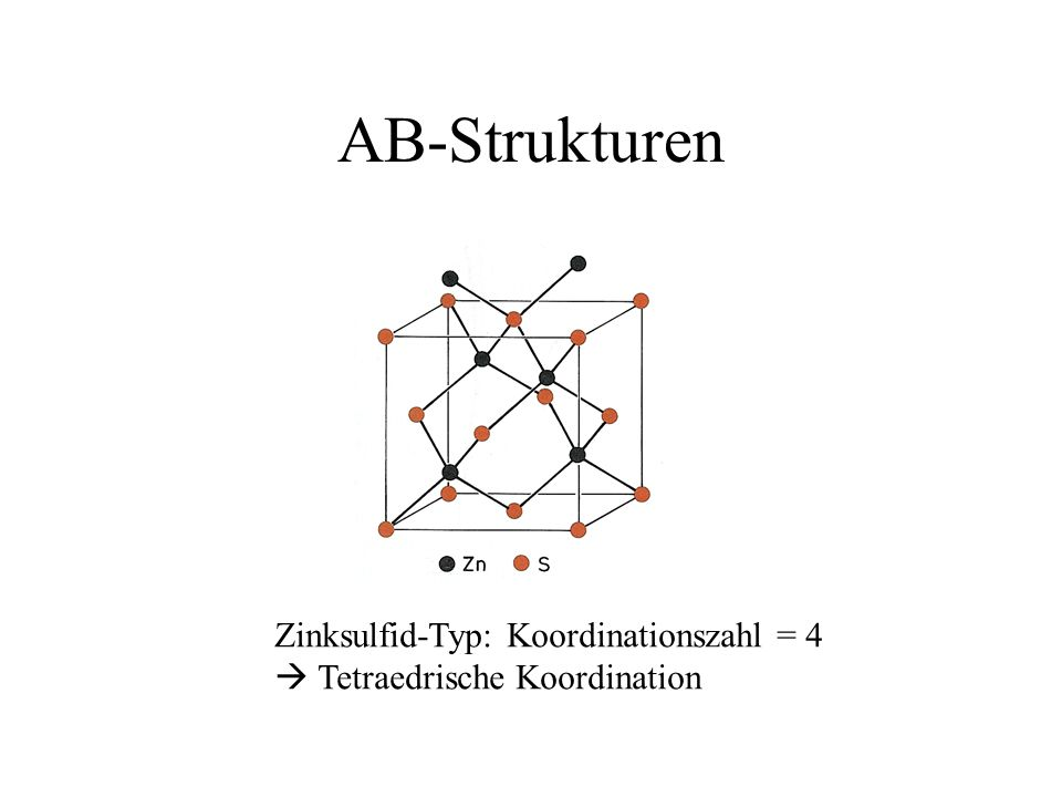 AB-Strukturen Zinksulfid-Typ: Koordinationszahl = 4