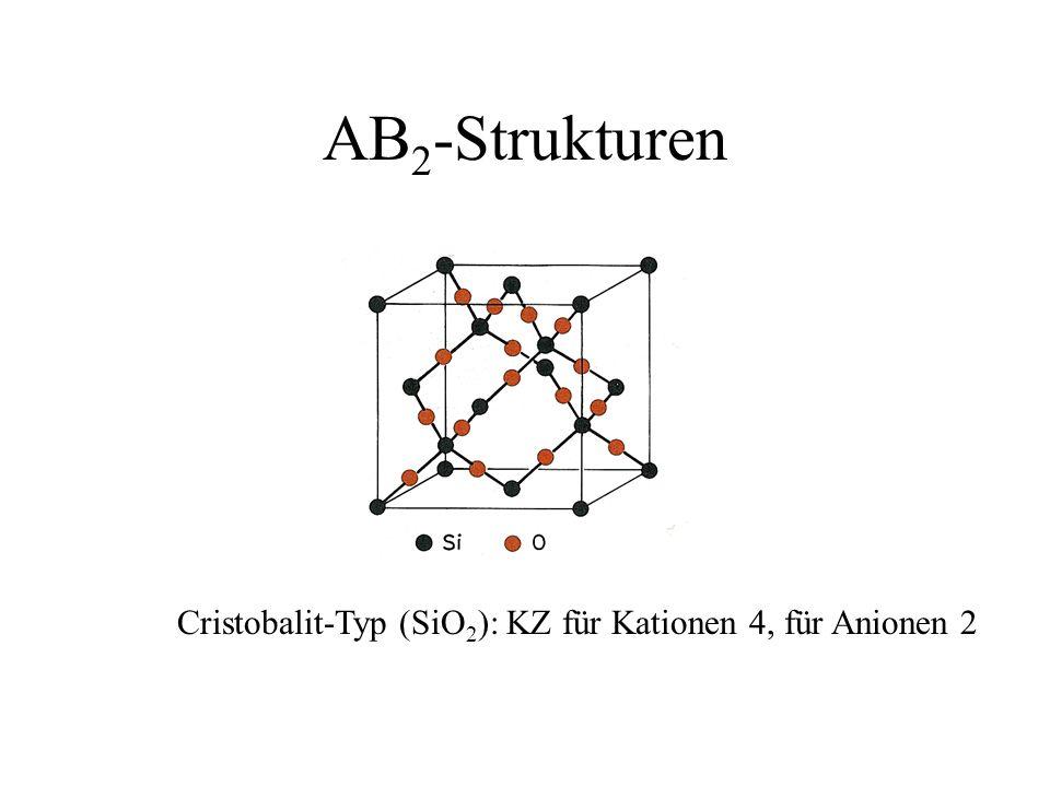 AB2-Strukturen Cristobalit-Typ (SiO2): KZ für Kationen 4, für Anionen 2