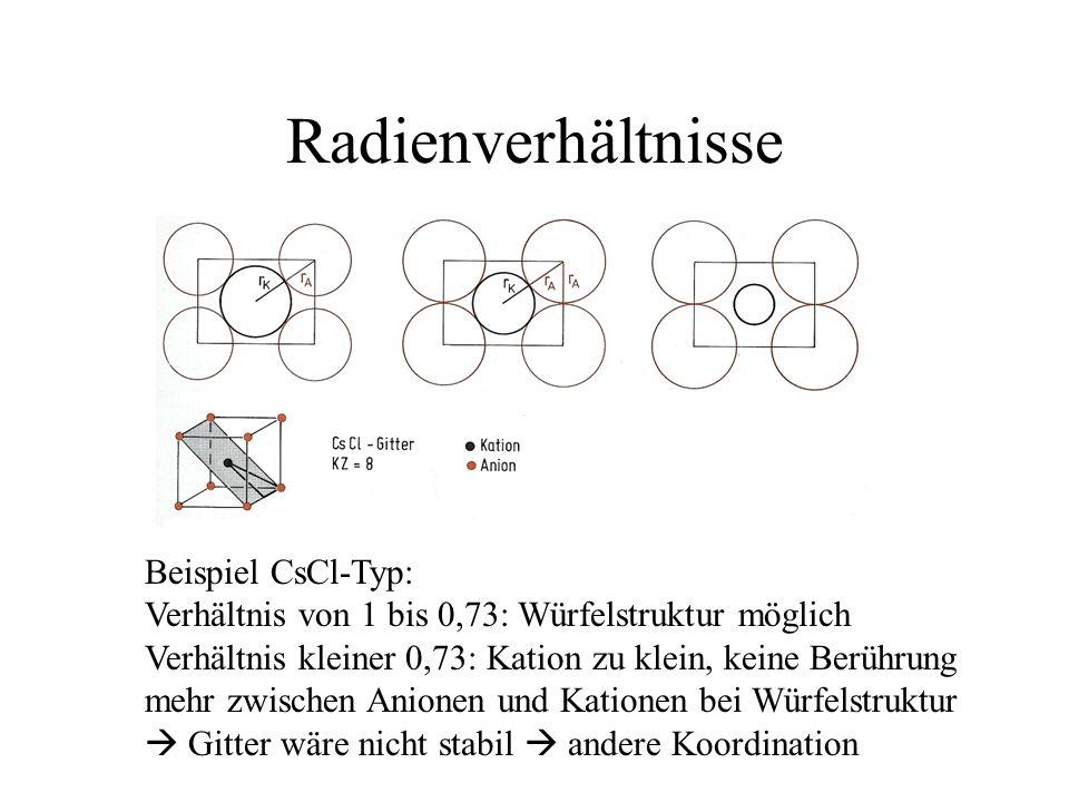 Radienverhältnisse Beispiel CsCl-Typ: