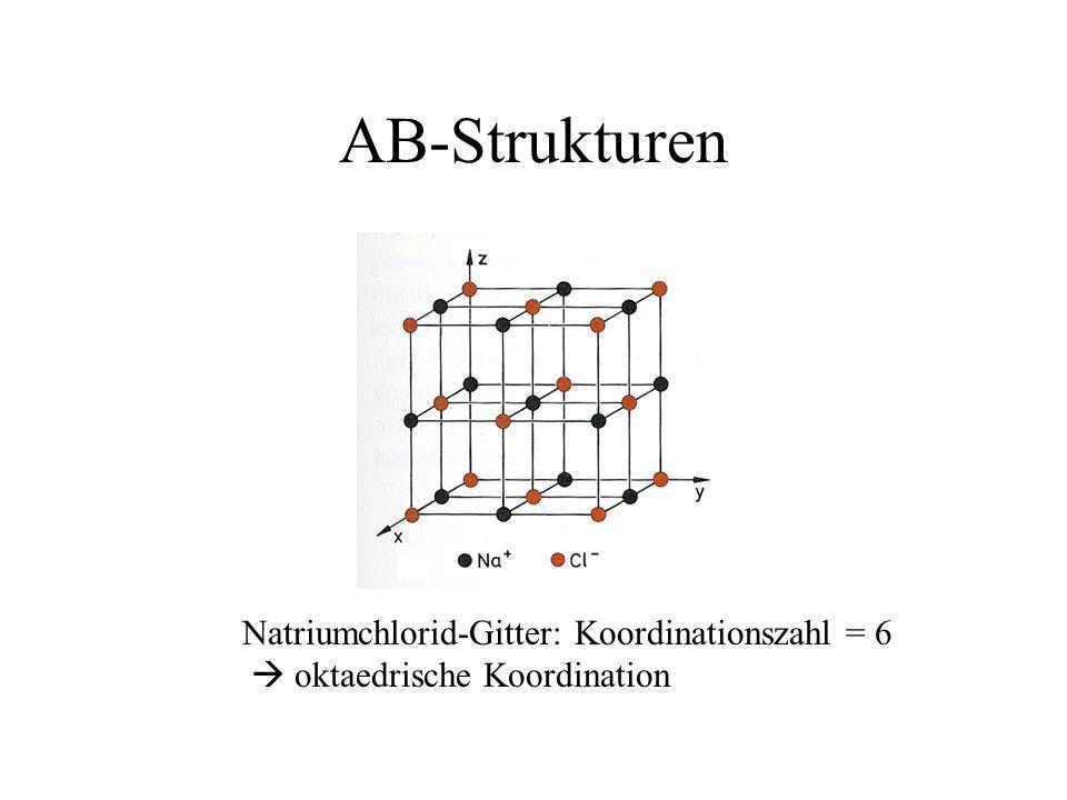 AB-Strukturen Natriumchlorid-Gitter: Koordinationszahl = 6