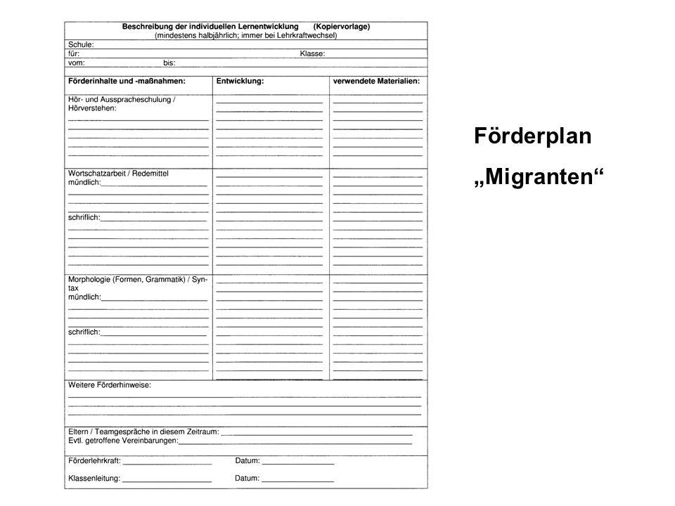"""Förderplan """"Migranten"""
