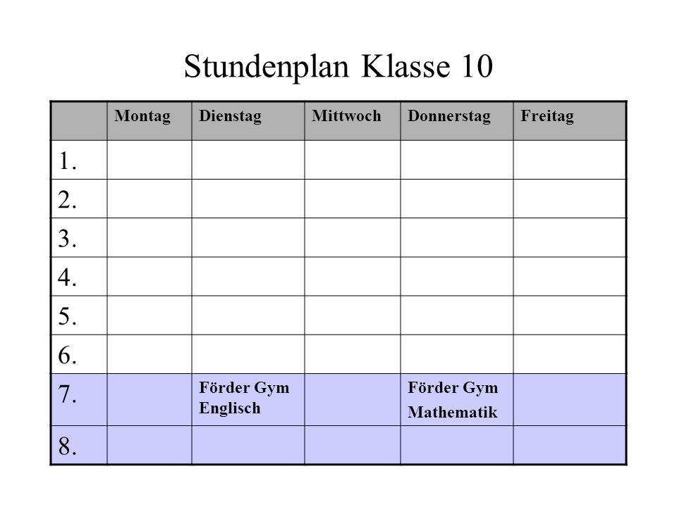 Stundenplan Klasse 10 1. 2. 3. 4. 5. 6. 7. 8. Montag Dienstag Mittwoch