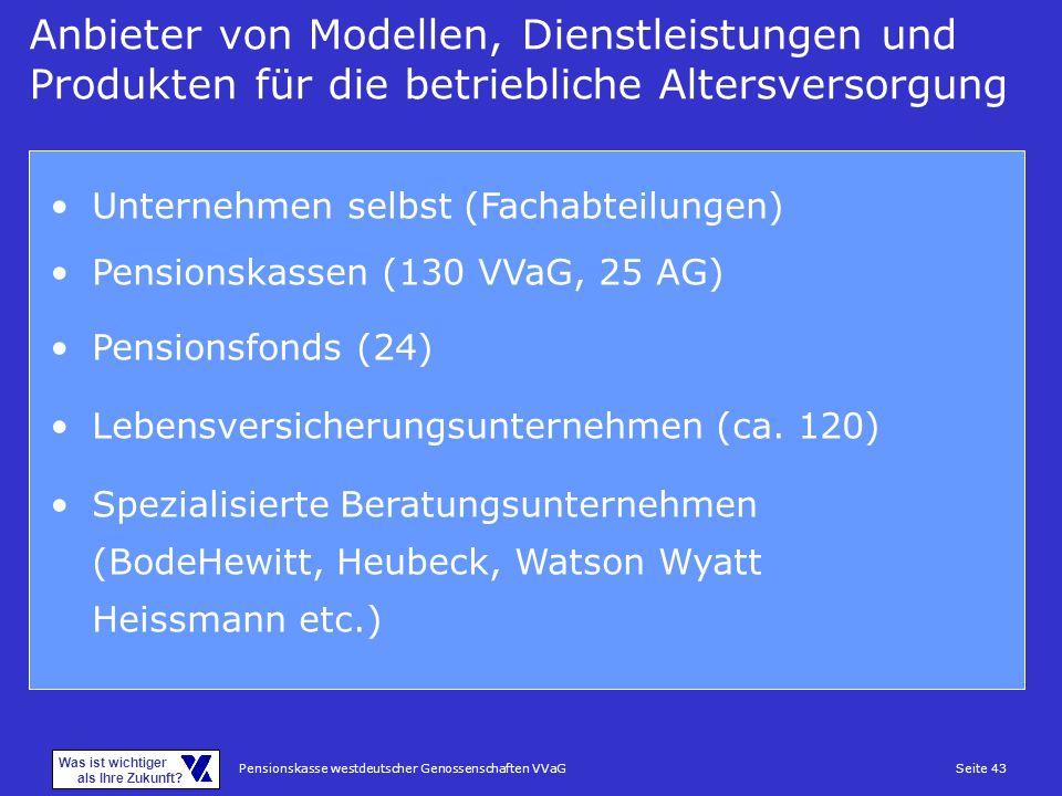 Anbieter von Modellen, Dienstleistungen und Produkten für die betriebliche Altersversorgung