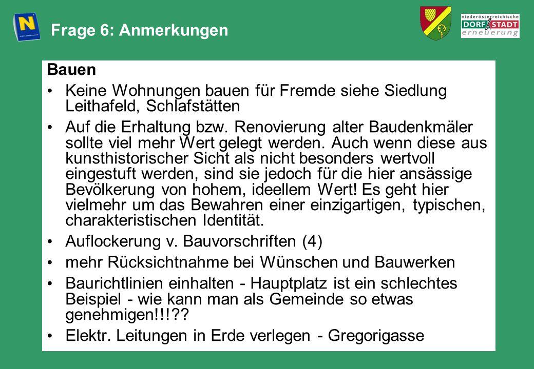 Frage 6: Anmerkungen Bauen. Keine Wohnungen bauen für Fremde siehe Siedlung Leithafeld, Schlafstätten.