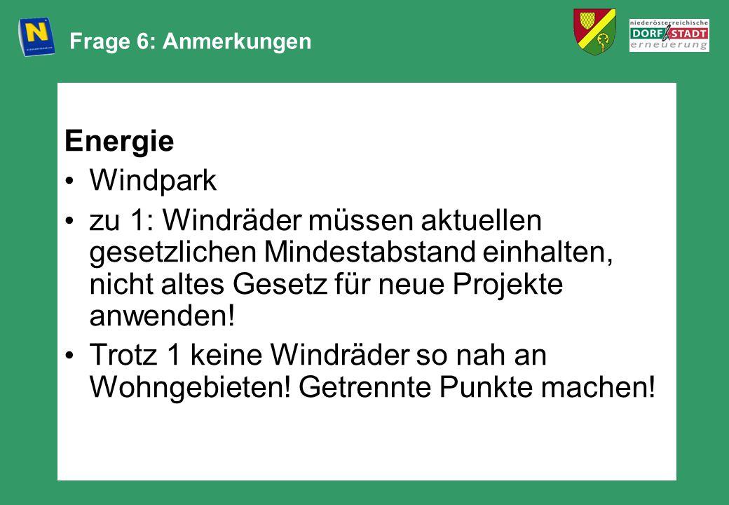 Frage 6: Anmerkungen Energie. Windpark.