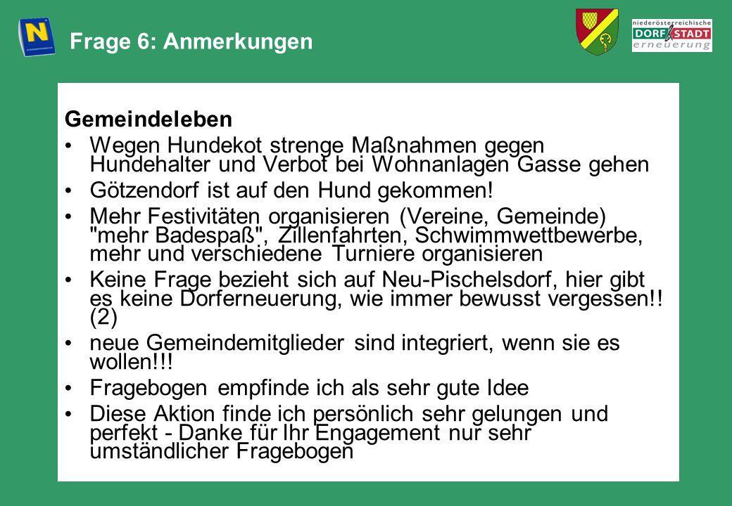 Frage 6: Anmerkungen Gemeindeleben. Wegen Hundekot strenge Maßnahmen gegen Hundehalter und Verbot bei Wohnanlagen Gasse gehen.