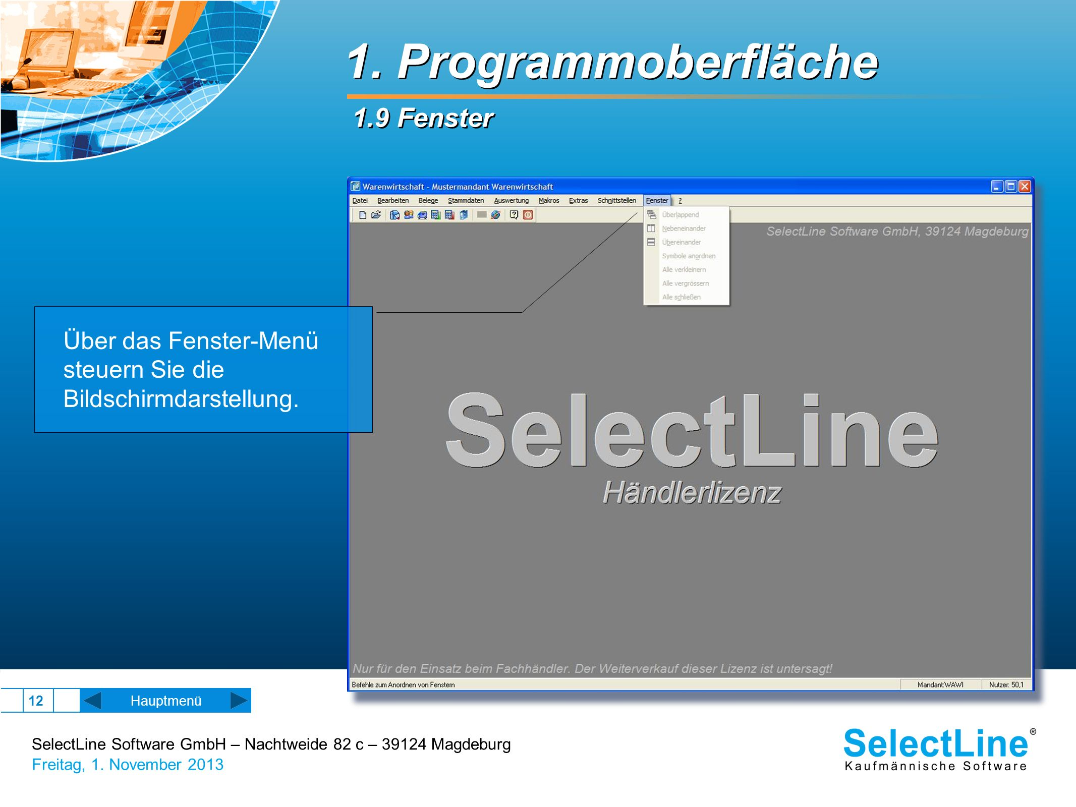 1. Programmoberfläche 1.9 Fenster