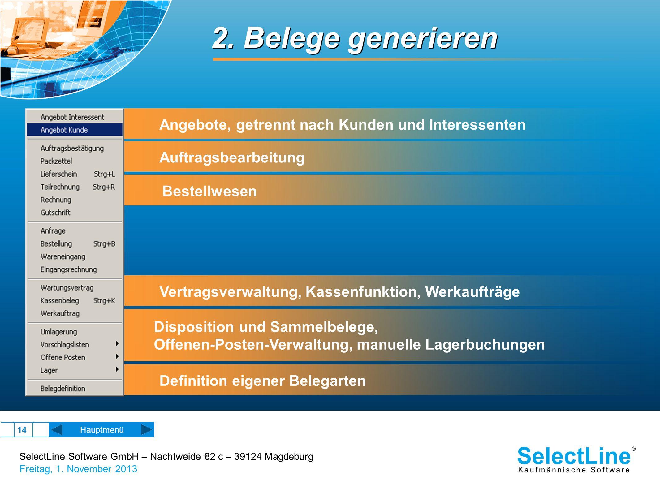 2. Belege generieren Angebote, getrennt nach Kunden und Interessenten