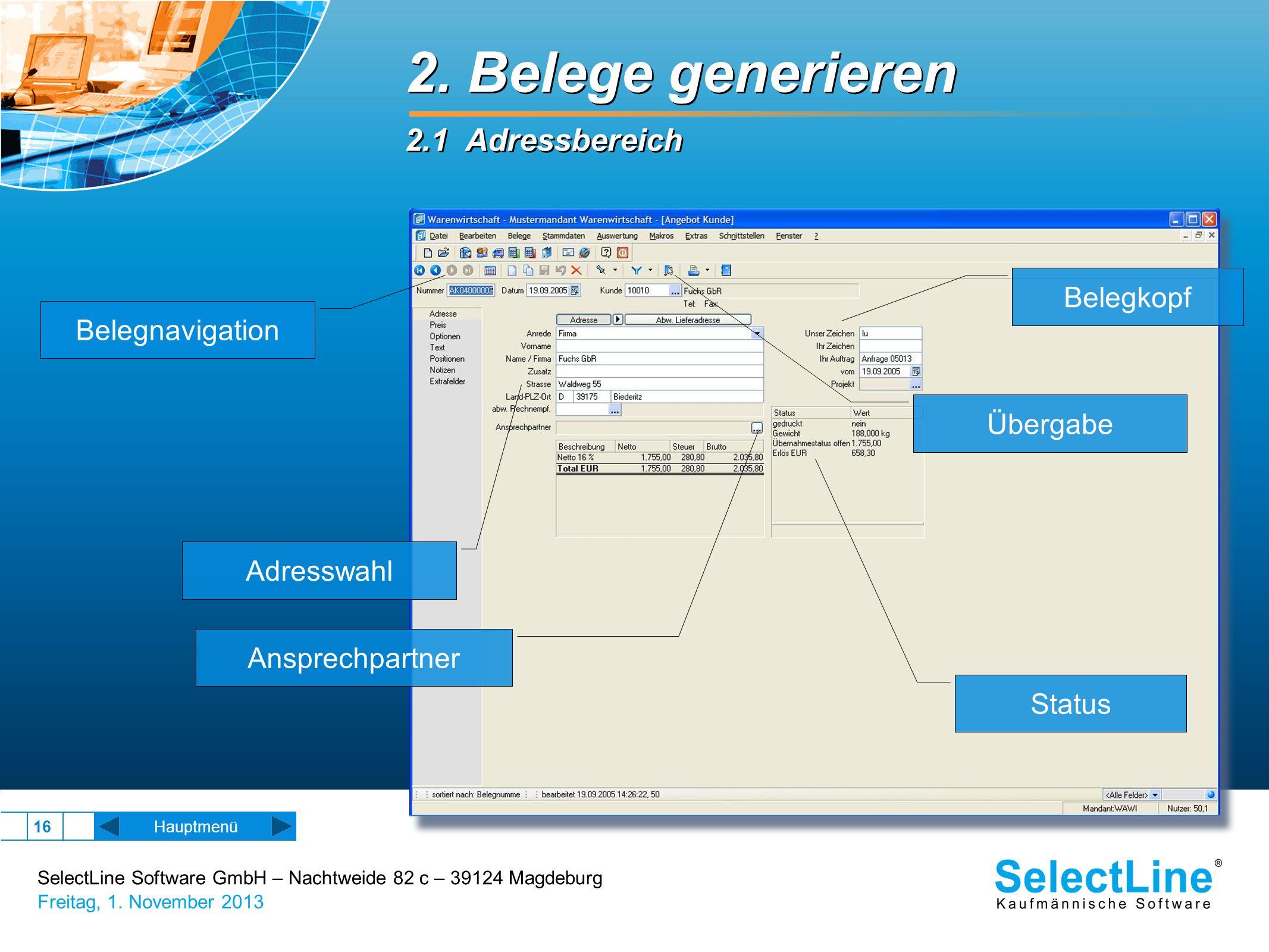 2. Belege generieren 2.1 Adressbereich Belegkopf Belegnavigation
