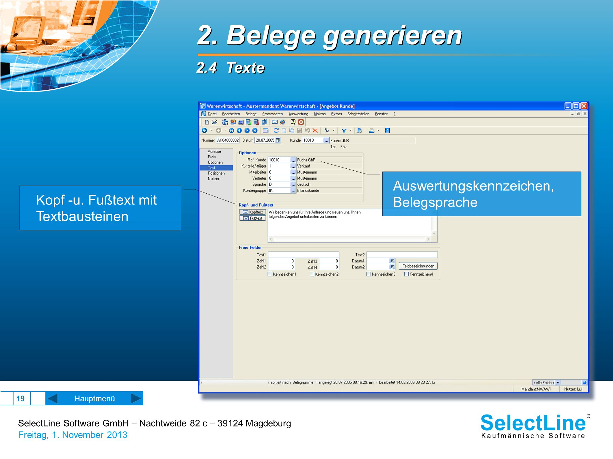 2. Belege generieren 2.4 Texte Auswertungskennzeichen, Belegsprache