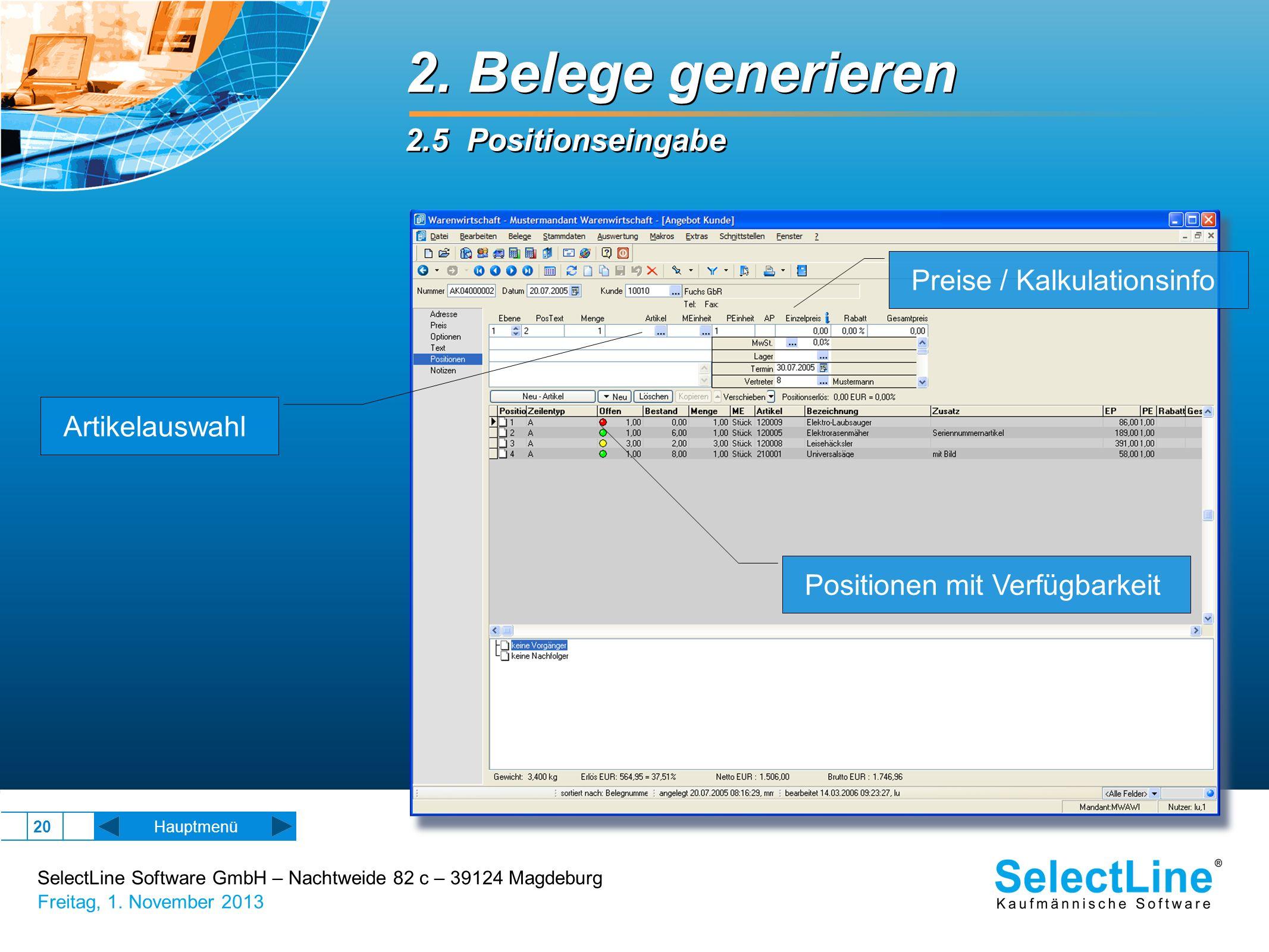 2. Belege generieren 2.5 Positionseingabe Preise / Kalkulationsinfo