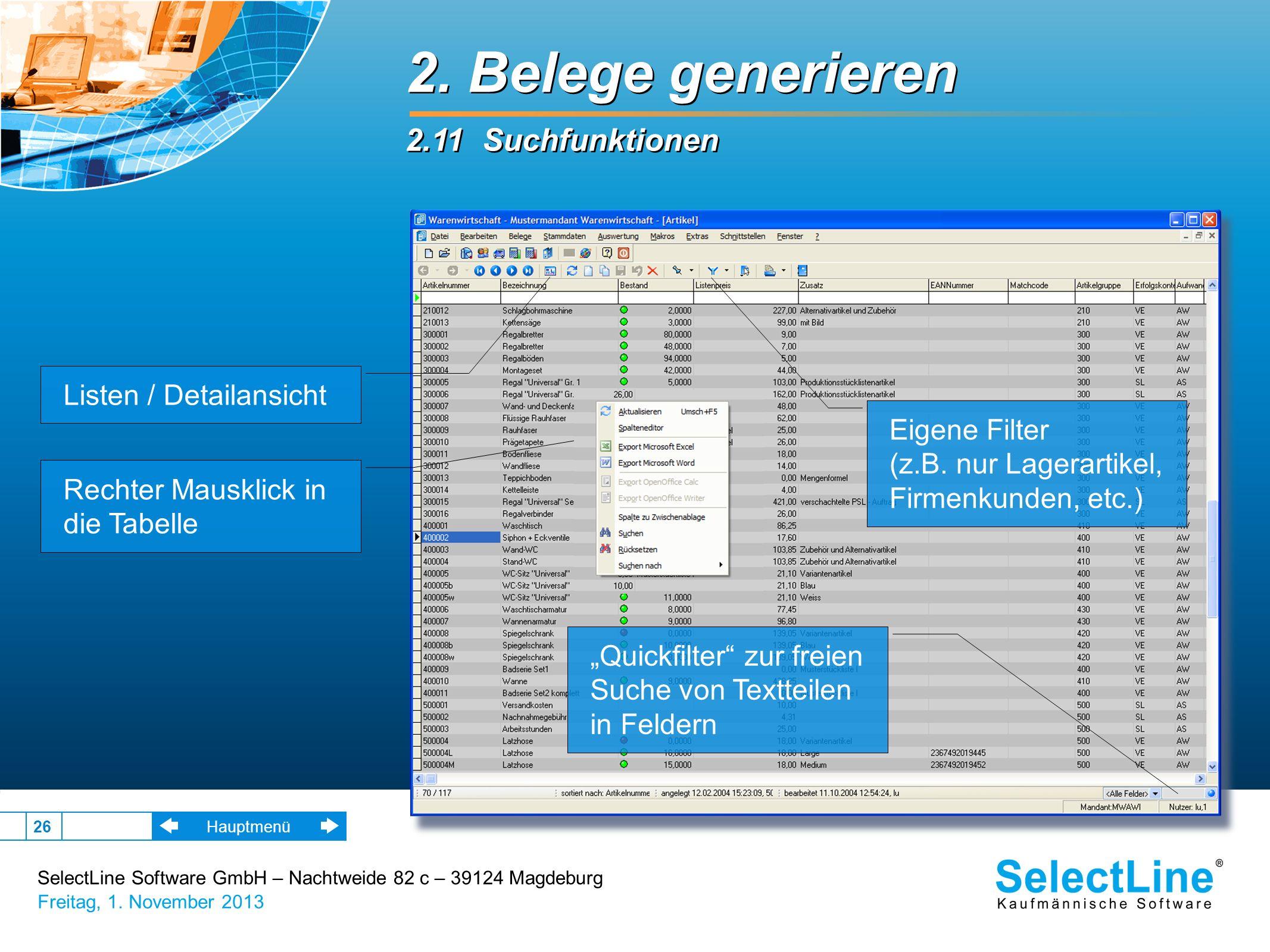 2. Belege generieren 2.11 Suchfunktionen Listen / Detailansicht