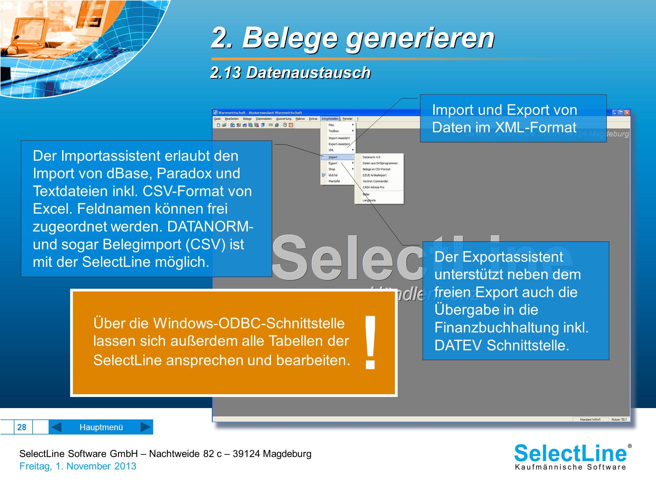 ! 2. Belege generieren 2.13 Datenaustausch Import und Export von